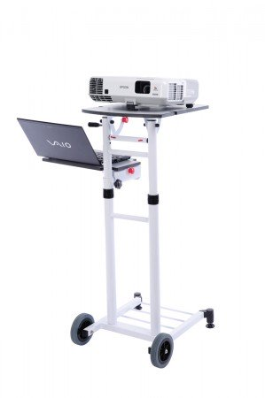 Medium VT3 Projektionswagen - Allround-Talent höhenverstellbar - Stellflächen neigbar - weiß