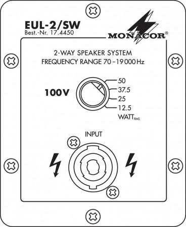 MONACOR EUL-2/SW Beschallungs-Lautsprecherbox in 100-V-Technik