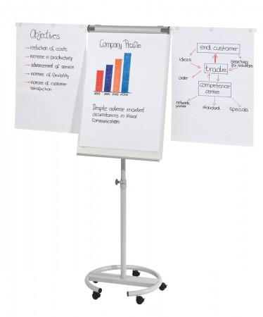 FRANKEN Flipchart ECO mobil Rundf. Metall höhenverstellbar 180-200 cm inkl. 2 Seitenarme