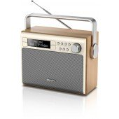 Philips tragbars Radio AE5020/12, DAB+/FM, Mono 20 Presets, Low battery indicator, Holz, Beige