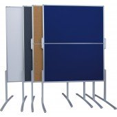 FRANKEN Moderationstafel PRO starr Filz blau doppelseitige Tafel HxB 150x120cm Gesamthöhe 190cm