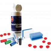 FRANKEN WWT Schreibtafel-Set 4 Marker 2 Schwämme 100 Reinigungstücher 10 farbige Magnete